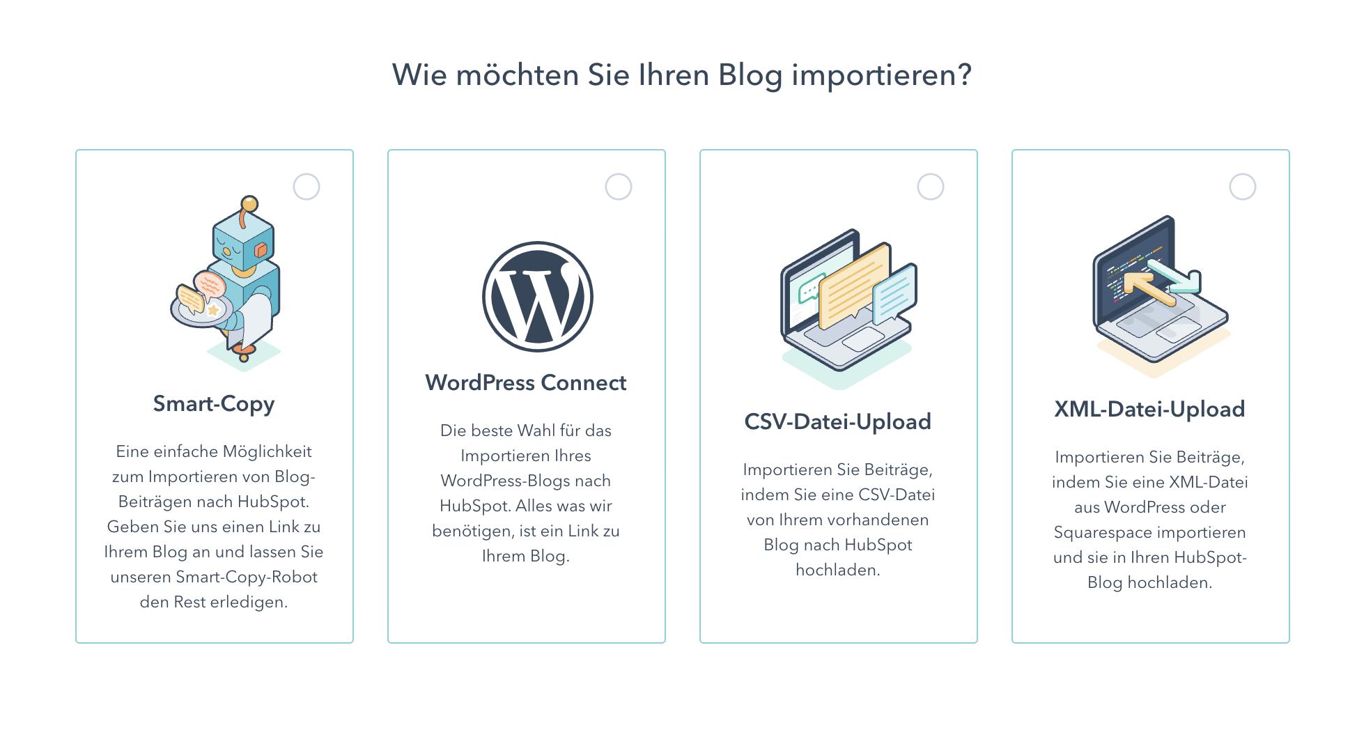 Blog Importoptionen