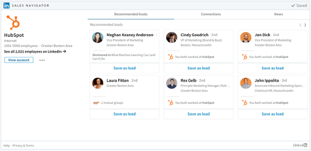 LinkedIn Sales Navigator Unternehmen Tabs