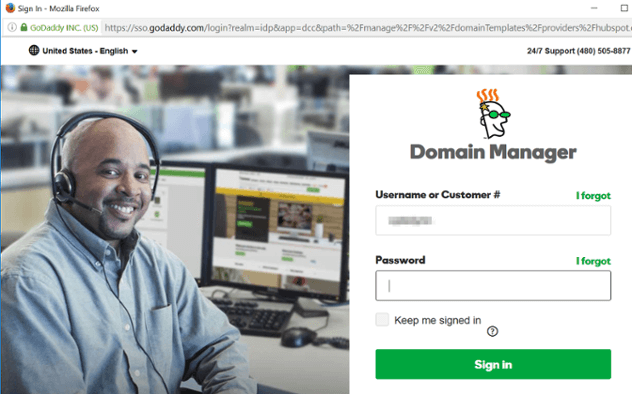 GoDaddy Connect Sign in