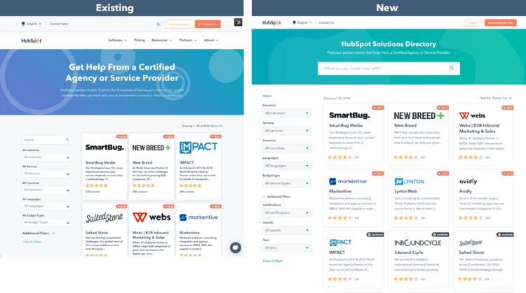 Gegenüberstellung der alten und der neuen Solutions Directory-Storefront.