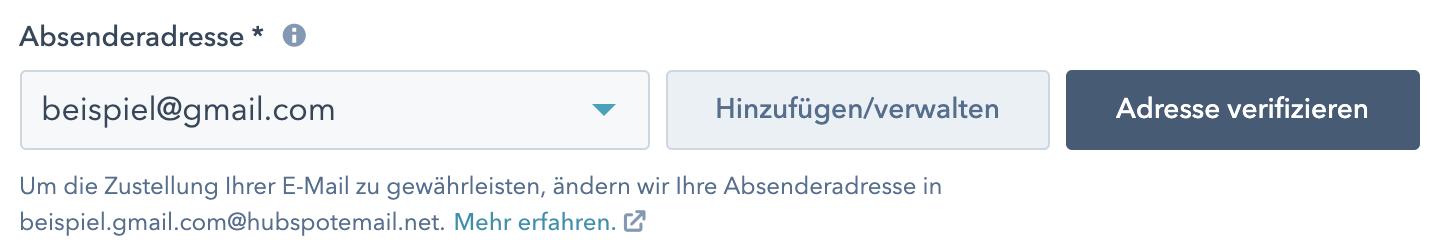 Beispiel HubSpot  kostenloses E-Mail ohne eigene E-Mail-Versanddomain