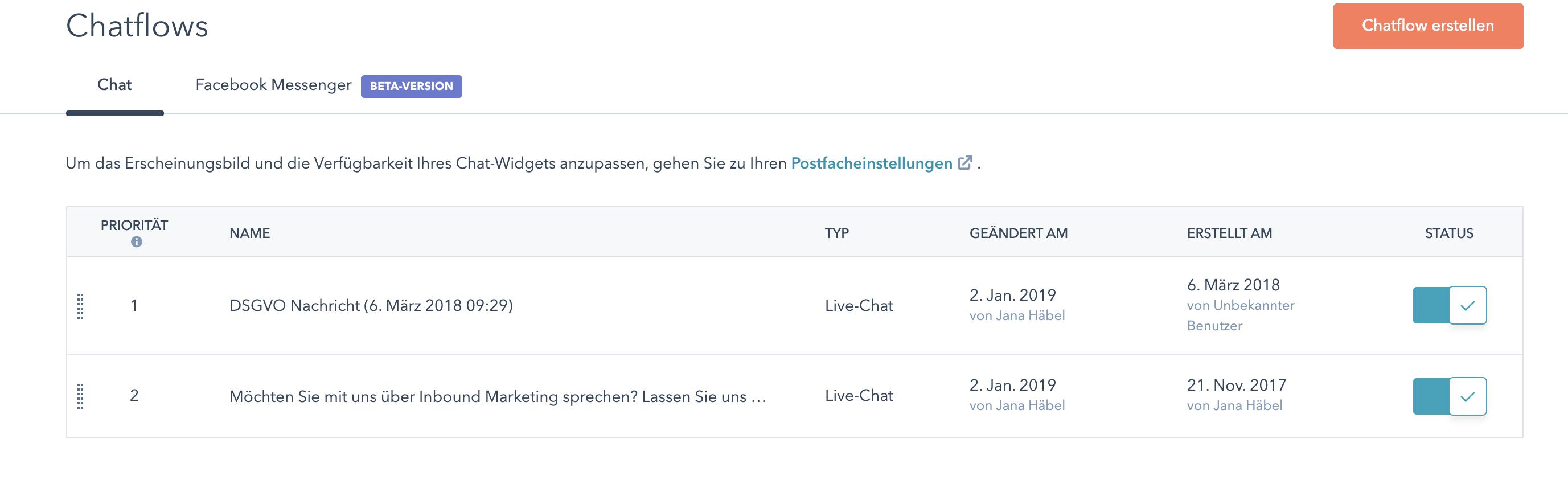 Chatflow Priorität