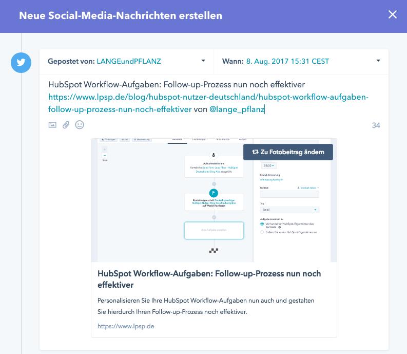 Twitternachricht über HubSpot posten