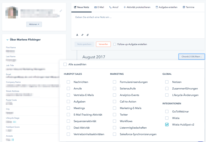 Wistia Daten in der Kontaktchronik anzeigen