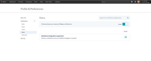 Salesforce Statusbenachrichtigung aktivieren
