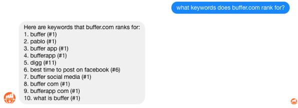 GrowthBot Keywordabfrage