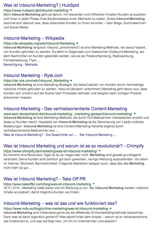 Google Suche Inbound Marketing