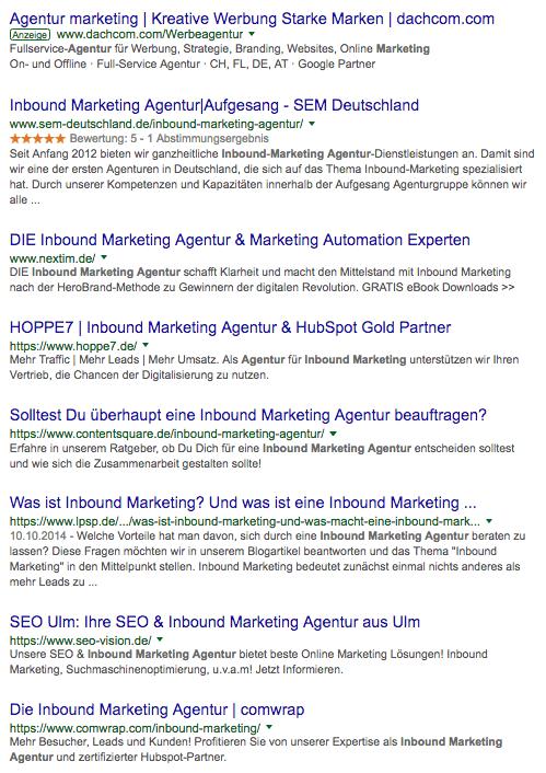 Google Suche Inbound Marketing Agentur