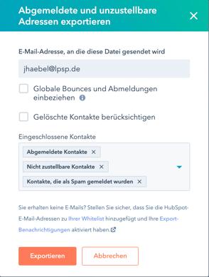 HubSpot Export abgemeldete und unzustellbare Adressen