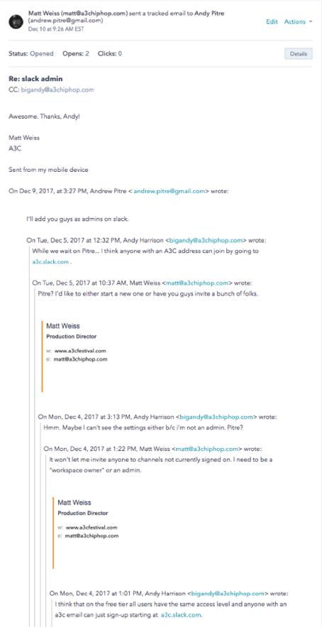 E-Mail Kette vorher