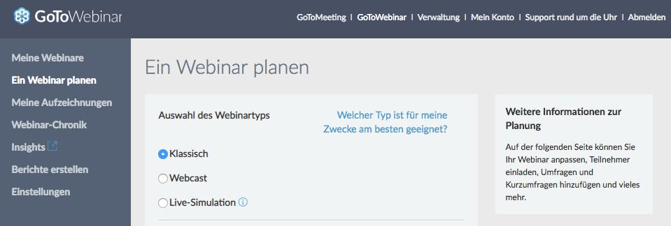 GoToWebinar – Webinartypen