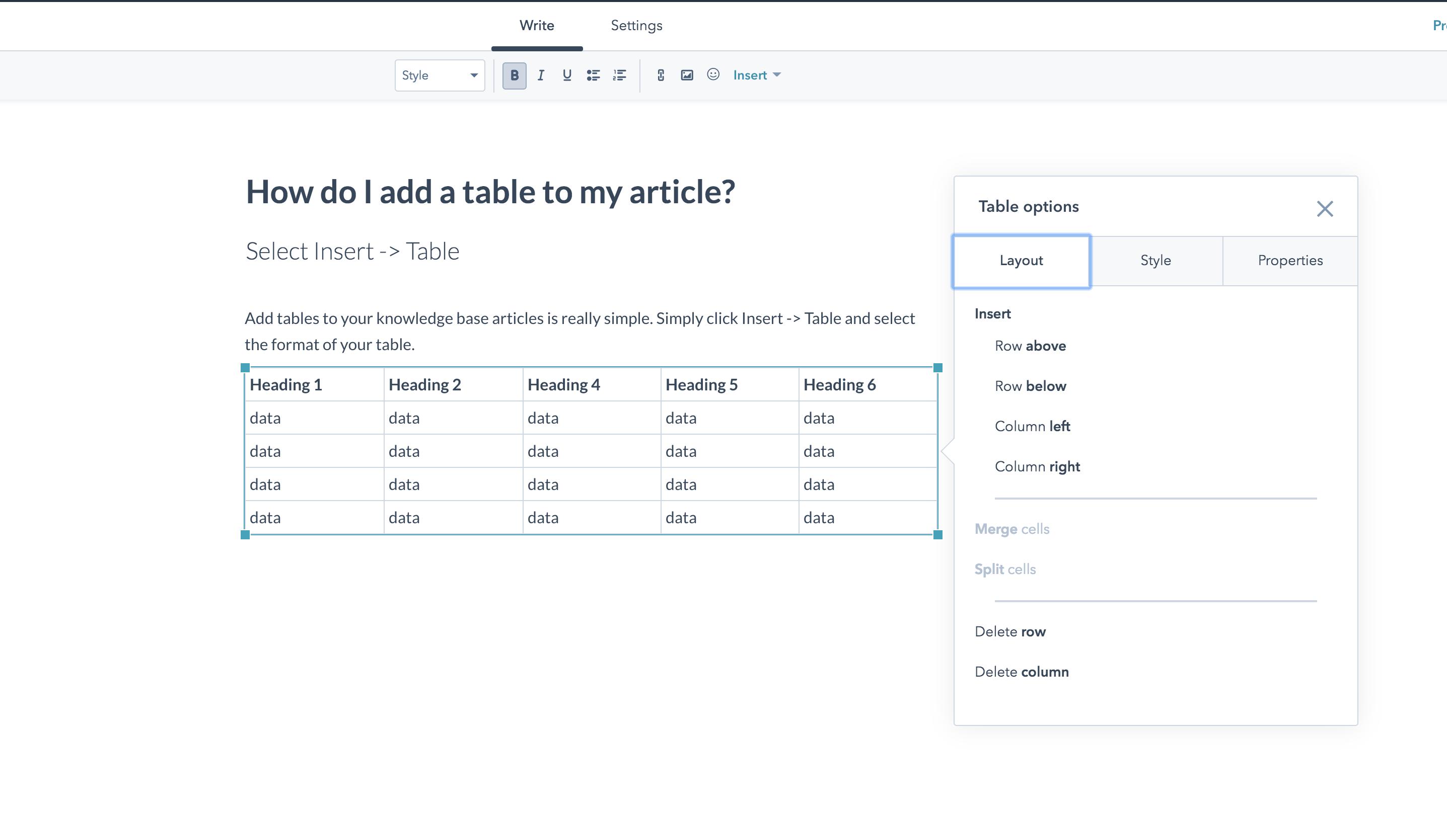 Table Edit: Tabellen in Knowledge Base Artikeln