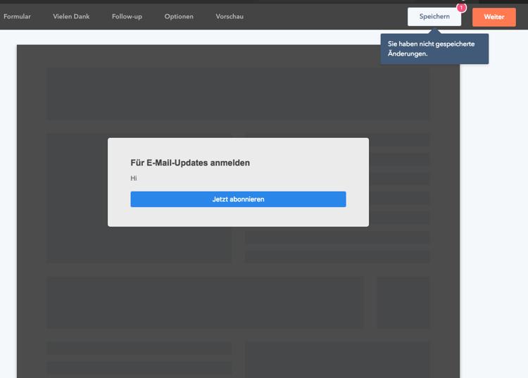 Entwürfe Lead Flow HubSpot - Sie habe nicht gespeicherte Änderungen
