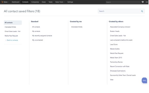 HubSpot Update Filtermöglichkeit CRM und HubSpot Marketing nachher