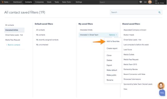 HubSpot Update Filtermöglichkeit CRM und HubSpot Marketing Favoriten speichern