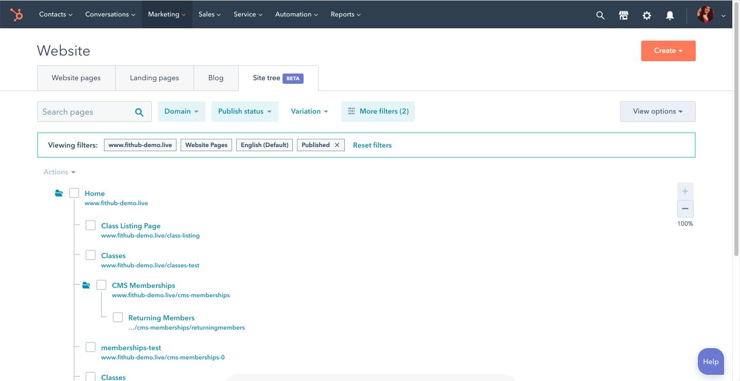 Website-Baum HubSpot