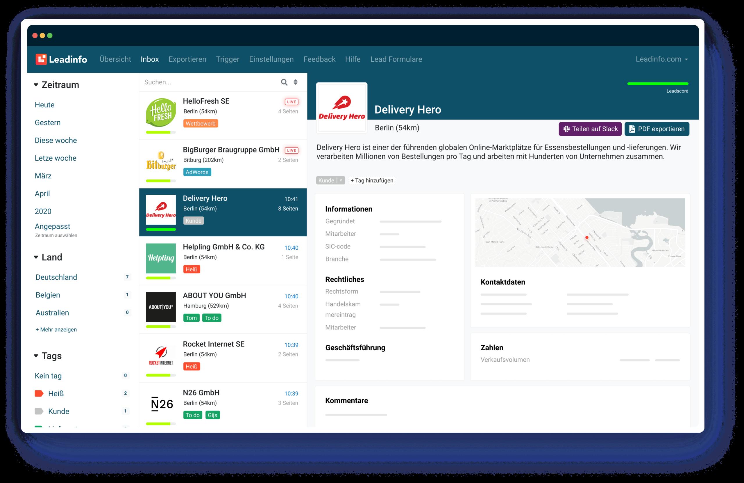 Leadinfo-Portal Dashboard