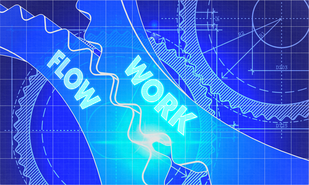 Work Flow Concept. Blueprint Background with Gears. Industrial Design. 3d illustration, Lens Flare.