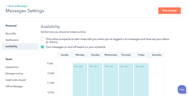 Einführung der kalenderbasierten Verfügbarkeit für HubSpot Messages