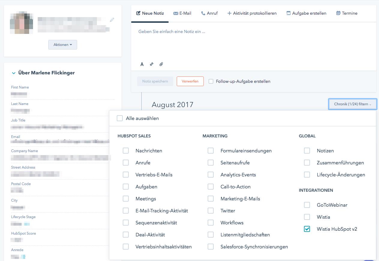 Wistia Daten jetzt auch in der Kontaktchronik – dank API Erweiterung!