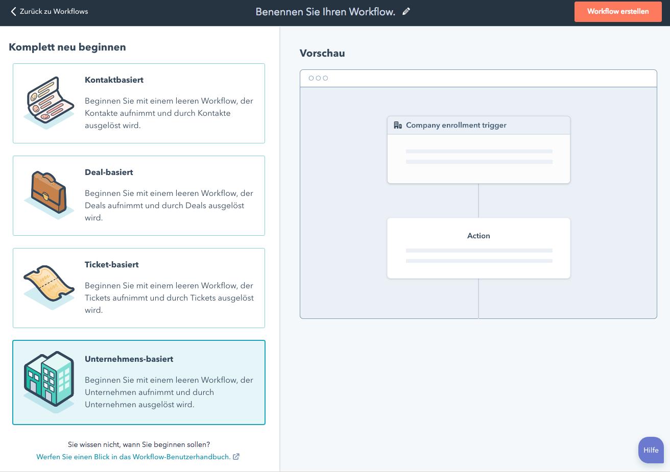 Neue Workflows in HubSpot – ticket-, deal- und unternehmensbasiert