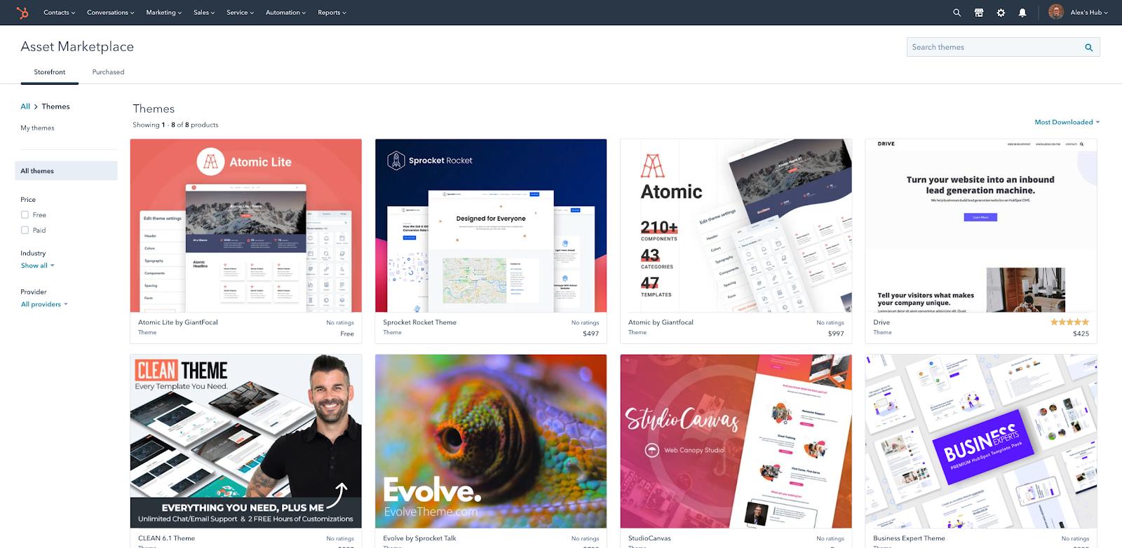 HubSpot Update: Kaufen Sie nach Themen auf dem Asset Marketplace ein