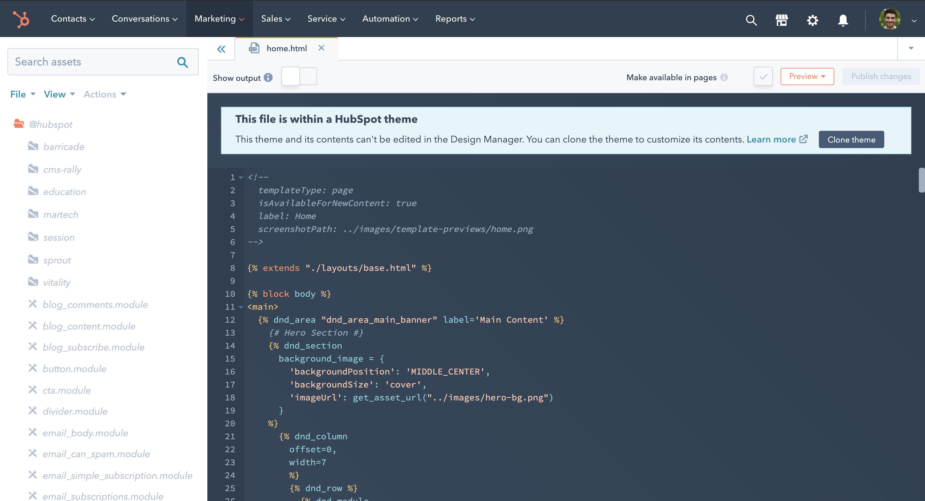 Zugriff auf Themen und Serverless-Funktionen im Design-Manager