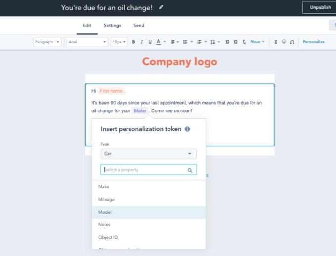 Personalisierungs-Token in automatisierten Marketing-E-Mails unterstützen jetzt benutzerdefinierte Objekte