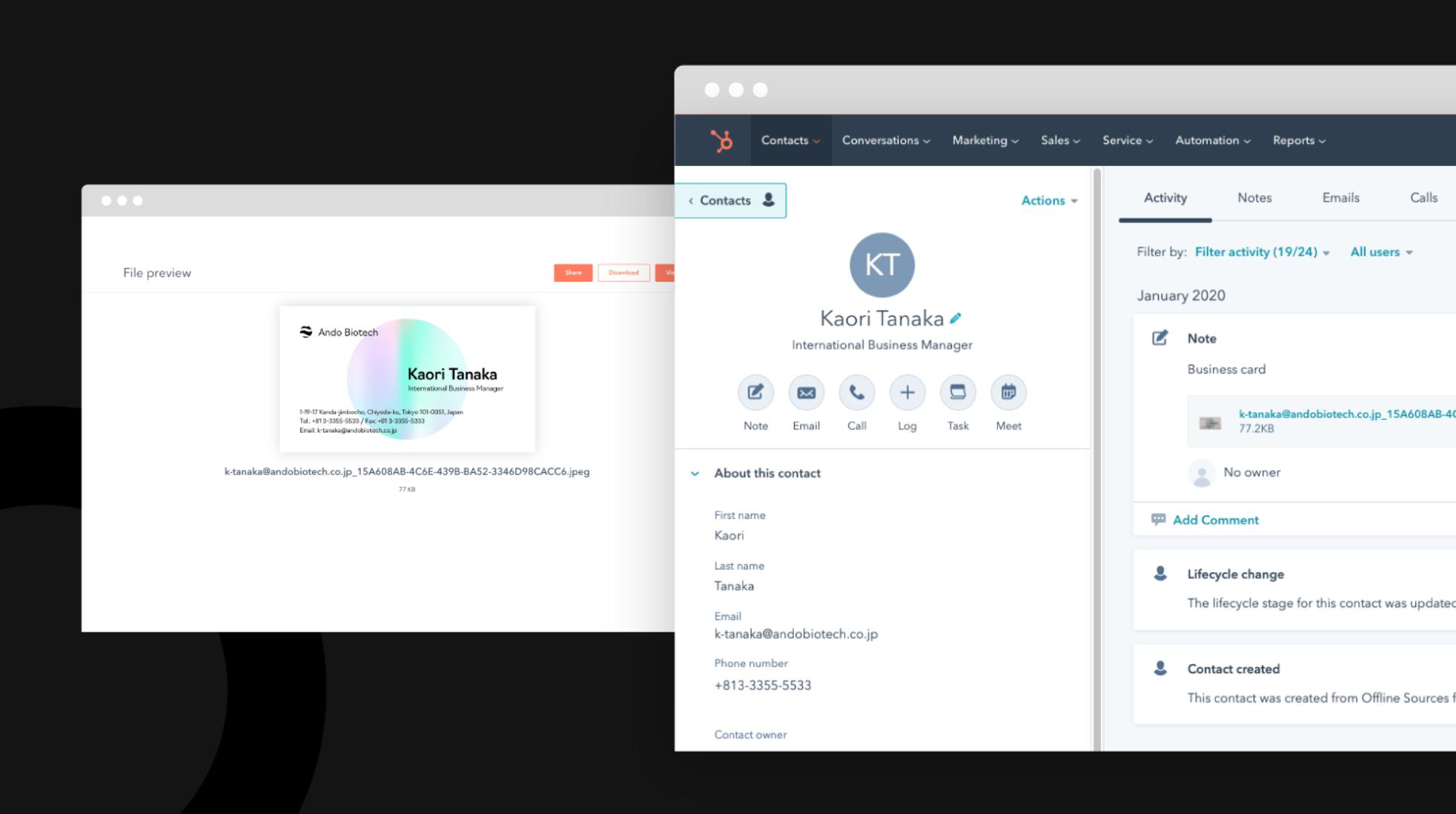 Verwalten von Visitenkarten in HubSpot mit der Sansan-App